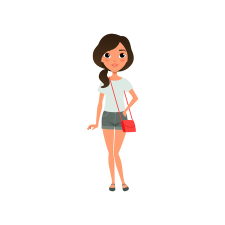 Cute girl dressed in stylish casual clothing blue blouse, gray shorts and red little bag on shoulder. Teenager posing with smiling face. Cartoon flat vector design Illustration