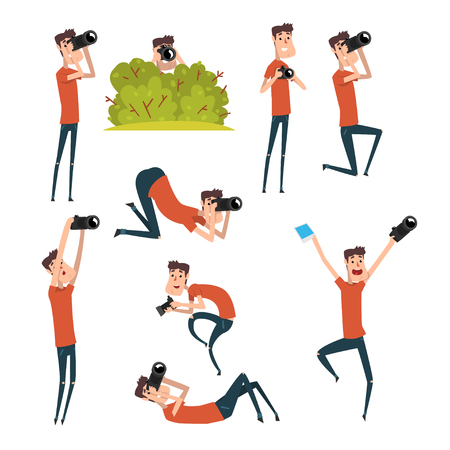 Set of photographers in different situations. Cartoon man taking pictures using professional camera. Young cheerful guy in t-shirt and jeans. Flat vector design