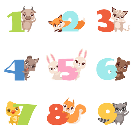Cartoon set with colorful numbers from 1 to 9 and various animals. Calf, fox, cat, dog, rabbit, bear, duckling, squirrel and raccoon. Flat vector design for kids education cards, books or posters.
