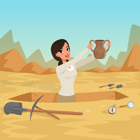 Young girl archaeologist waist-deep in the pit with old ceramic jug in hands. Sky and rocky desert on the background. Archaeological tools. Ancient artifacts excavation. Cartoon flat vector design.