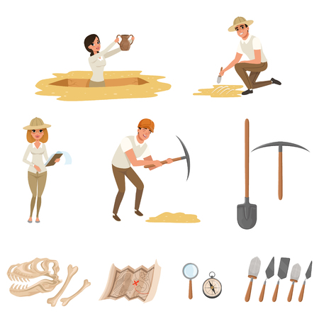 Cartoon icons set with different tools for archaeological excavations, dinosaur skeleton, and people-archaeologists in working process. Archeology symbol. Colorful flat vector design isolated on white