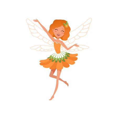 Fröhliche rothaarige Fee mit kleinen magischen Flügeln. Karikaturmädchen, das geformtes Kleid der schönen orange Blume trägt. Vektorgrafik