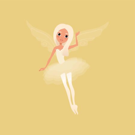 Lovely blond girl with big shiny eyes and magic wings. Fairy wearing beautiful tutu dress.