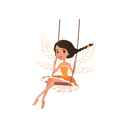 Happy fairy with magic wings, cartoon girl character sitting on swing. Pixie in little orange dress, magical creature from fairy tale. Colorful flat vector illustration isolated on white background. Ilustração