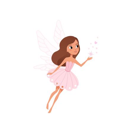 Feenhaftes Mädchen der Karikatur, das magischen Staub fliegt und verbreitet. Braunhaariger Elf im süßen rosa Kleid. Märchenhafter Charakter mit kleinen Flügeln. Bunte flache Vektorillustration lokalisiert auf weißem Hintergrund.