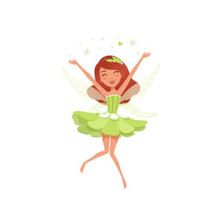 Magische Fee im schönen grünen Kleid. Ausgebreiteter Elfstaub des glücklichen Mädchens. Eingebildeter Märchencharakter mit kleinen Flügeln. Mythische Kreatur. Cartoon flache Vektor-Design
