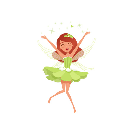 Magical fairy in beautiful green dress. Happy girl spreading pixie dust. Imaginary fairytale character with little wings. Mythical creature. Cartoon flat vector design