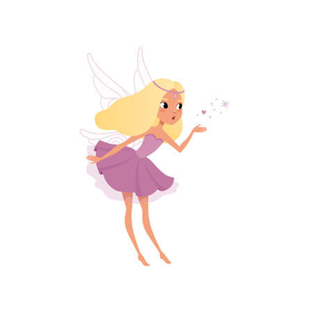 Cute fairy with long blond hair spreading magical dust. Pixie girl in fancy purple dress with wings. Little mythical creature. Imaginary fairytale character. Flat vector design isolated on white. Ilustração