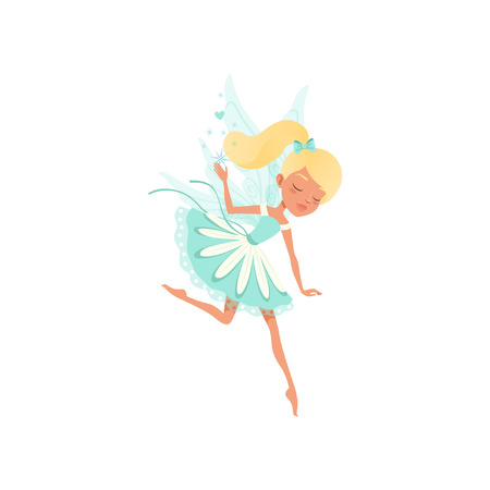 Lovely fairy in flying action. Imaginary fairytale creature spreading magical dust. Blond girl with ponytail and little wings. Pixie in fancy blue dress. Cartoon flat vector design isolated on white.