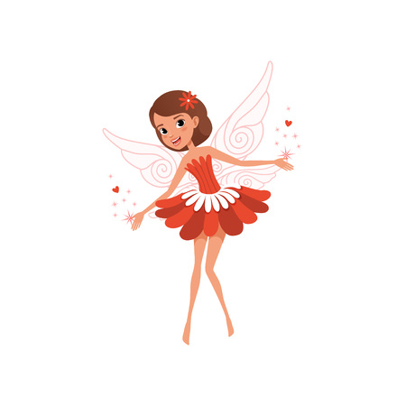 Happy flying fairy spreading magical dust. Cartoon brown-haired girl wearing beautiful red flower shaped dress. Illustration