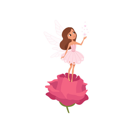 Cartoon fairy girl standing on rose and spreading magical dust. Little brown-haired pixie in cute pink dress. Fairytale character with wings. Colorful flat vector design isolated on white background.