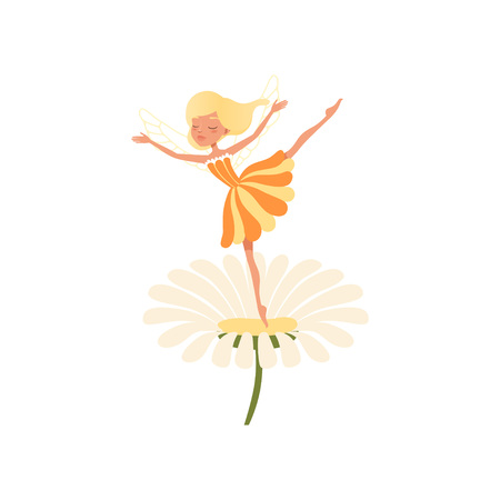 Beautiful blond fairy dancing on daisy flower. Imaginary fairytale character with little magic wings. Girl wearing cure orange dress. Colorful flat vector design Illustration