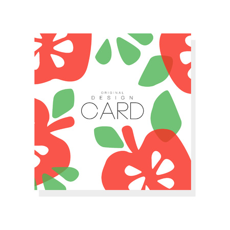 Bright fruit card with red apples and green leaves, vegetarian nutrition. Organic and tasty food abstract design for farmer market or grocery store. Hand drawn vector illustration isolated on white background.