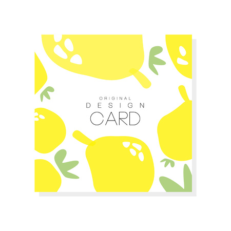 Original card template with lemons, citrus fruit concept. Organic food healthy nutrition graphic design for product label or packing sweets. Colorful vector illustration isolated on white background.