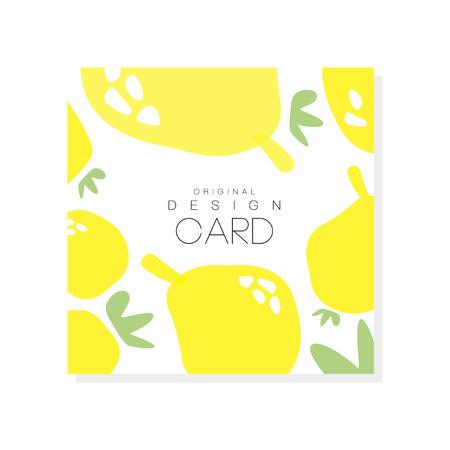 Ursprüngliche Kartenschablone mit Zitronen, Zitrusfruchtkonzept. Grafikdesign der gesunden Nahrung des biologischen Lebensmittels für Produktaufkleber oder Verpackungsbonbons. Bunte vektorabbildung getrennt auf weißem Hintergrund. Vektorgrafik