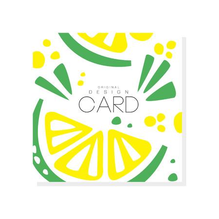 육즙 라임 슬라이스로 추상 카드 건강 한 영양입니다. 유기농 및 맛있는 음식. 열대 과일. 에코 제품. 초대장이나 프로모션 전단지를위한 다채로운 벡터 디자인