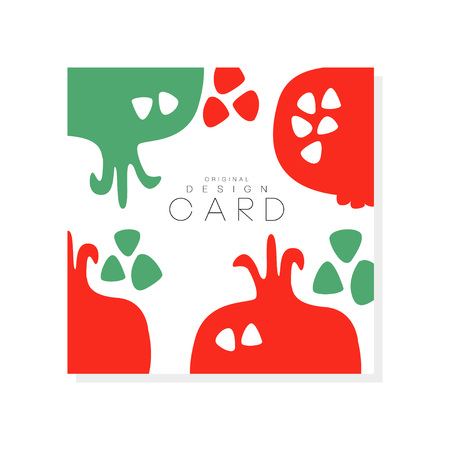 Creative square card with red pomegranate. Natural and healthy eating. Tropical fruit. Organic and tasty nutrition. Product surface design. Abstract vector illustration  イラスト・ベクター素材