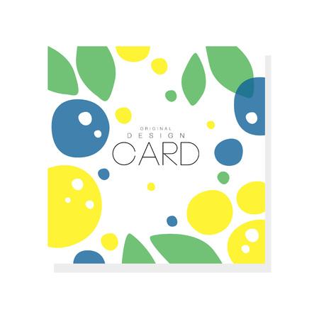 Helle Sommerkartenschablone mit Pflaumen, Zitronen und Grünblättern. Abstrakte bunte Früchte entwerfen für Einladungs-, Plakat- oder Produktemblem. Kreative Vektorillustration lokalisiert auf weißem Hintergrund.