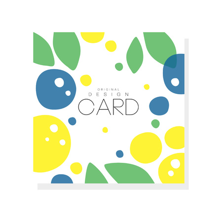 Bright summer card template with plums, lemons and green leaves. Abstract colorful fruits design for invitation, poster or product emblem. Creative vector illustration isolated on white background. Vettoriali