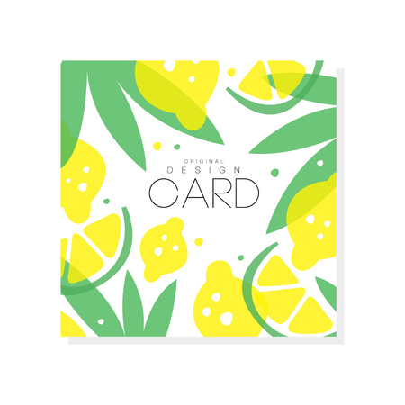 Abstract fruit card with juicy lemons, limes and green leaves. Summer poster. Sweet food. Creative vector design for farmer market or grocery store  イラスト・ベクター素材