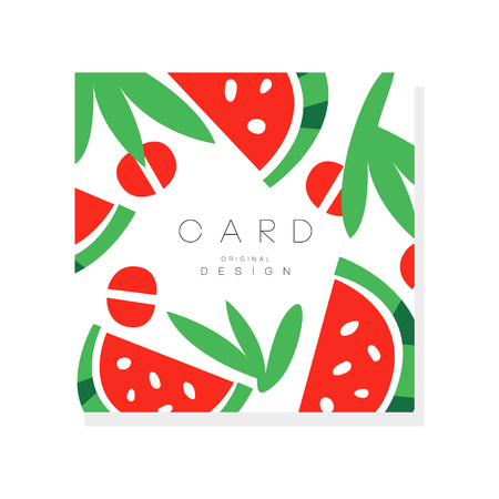 Original illustration with pieces of ripe watermelon. Sweet summer fruit. Healthy nutrition. Organic food. Vector design for invitation card, promo poster or cafe menu
