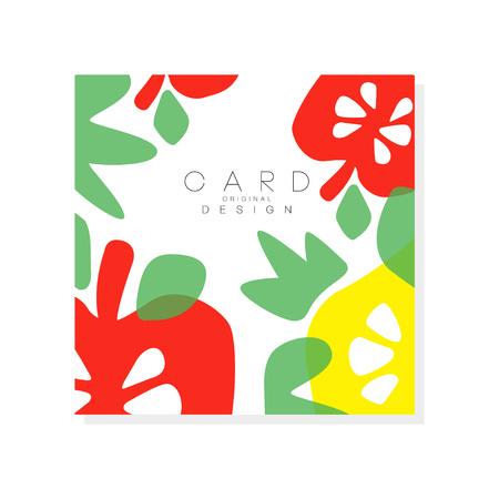 Buntes Sommerplakat mit Stücken reifer Apfel und grünen Blättern . Organische und leckere Frucht