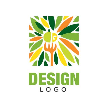 Logo di frutta colorata. Concetto di cibo sano. Modello di etichetta originale in forma rettangolare.
