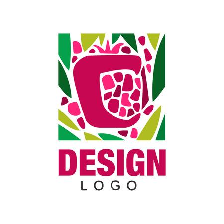 トロピカルフルーツのクリエイティブなロゴデザイン。農場市場、食料品店やジュース包装のための抽象的なエンブレム。