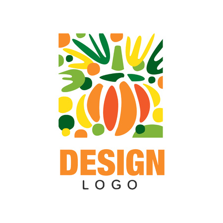 Original fruit logo template. Sweet and healthy food. Abstract emblem in rectangular shape. Ilustracja