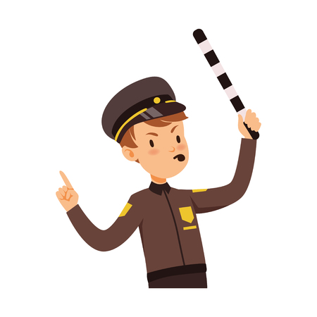 Police officer character managing road traffic, traffic policeman vector Illustration on a white background