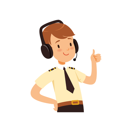 Luchtverkeersleider karakter, jongen in uniform met hoofdtelefoon van vector illustratie op een witte achtergrond
