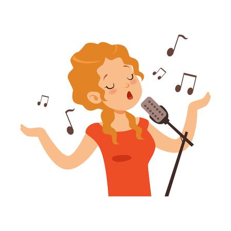 Mädchen, das mit Mikrofon, Sängercharakter-Karikaturvektor Illustration auf einem weißen Hintergrund singt Vektorgrafik