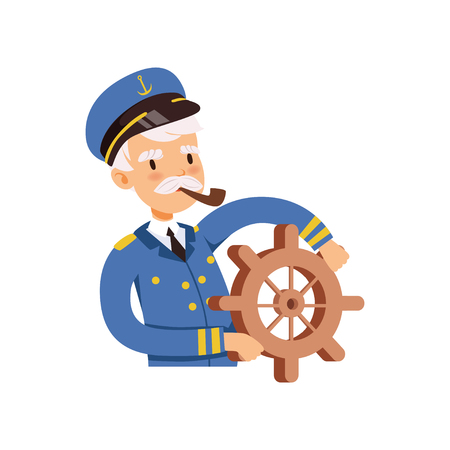 Captain character behind the wheel, sailor in blue uniform smoking pipe vector Illustration on a white background Illustration