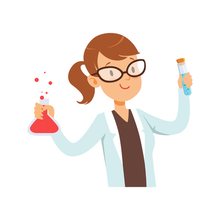 Girl chemist character, female scientist in white coat holding test flask vector Illustration on a white background
