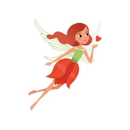 Cartoon fairy character with red hair and flower shaped dress. Beautiful mythical creature with magic wings, little girl in flying action flat vector illustration for children's book, print or card.