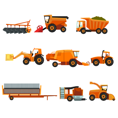 Colorful set of agricultural transports, rural machinery. Industrial farm vehicle, tractor hay baler, truck, combine harvester, trailer, seeding machine, plowing equipment isolated flat vector design.