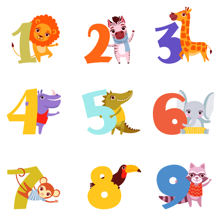 Set of colorful numbers from 1 to 9 and different animals. Cartoon lion, zebra, giraffe, hippopotamus, crocodile, elephant, monkey, toucan and raccoon flat vector design for childrens education book.