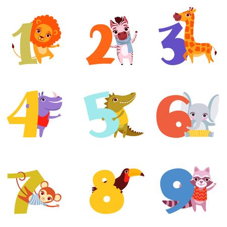 Set van kleurrijke nummers van 1 tot 9 en verschillende dieren. Cartoon leeuw, zebra, giraf, nijlpaard, krokodil, olifant, aap, toekan en wasbeer platte vector ontwerp voor kinderen onderwijs boek.