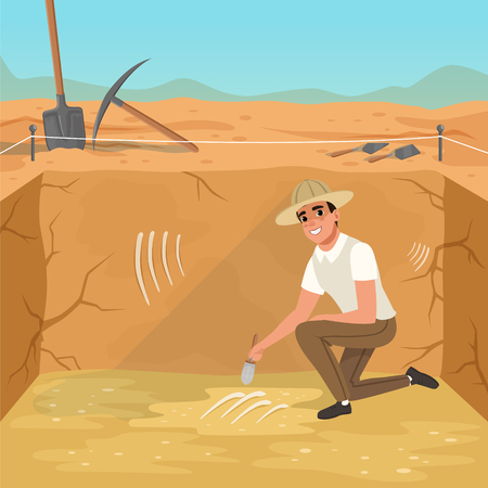 Cartoon man sitting on one knee in square pit. Paleontologist sweeping dirt from skeleton s bones. Illustration