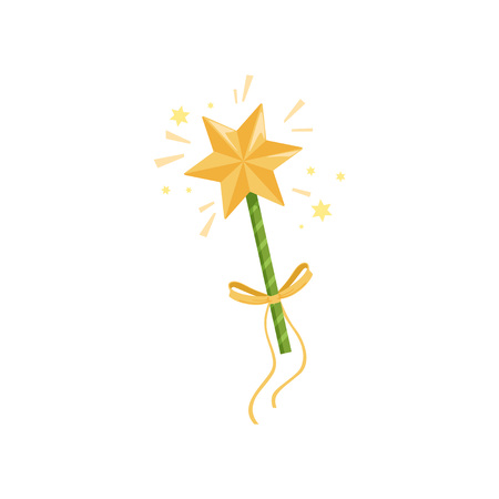 Colorful icon of fairy s wand with big golden star and yellow bow. Magic stick spreading bright sparkling lights. Witchcraft concept. Cartoon flat vector illustration isolated on white background. Illustration