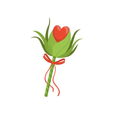 Hada del bosque varita con hojas verdes, corazón rojo y lazo con cintas. Quédate con el poder mágico. Concepto de brujería. Elemento decorativo gráfico. Ilustración de vector plano colorido aislado en blanco. Foto de archivo - 94315208
