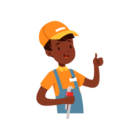 Plumber character, African American boy in uniform with wrench vector illustration on a white background. Иллюстрация