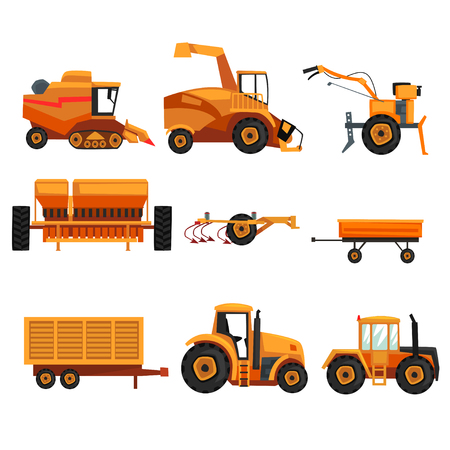 Set with different heavy machinery used in agriculture industry. Farm vehicle.