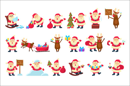 Set with funny Santa Claus in different poses. Merry Christmas and Happy New Year. Reindeer, bag with gifts, children s letters, tree, snow. Design for greeting cards. Cartoon flat vector illustration