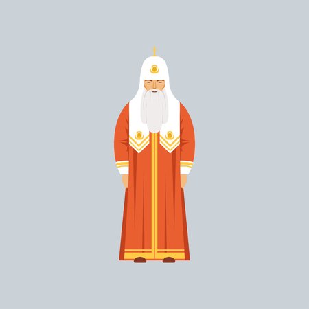 Orthodox Patriarch in red soutane, representative of religious confession vector Illustration in a flat style.
