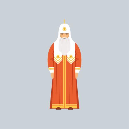 Orthodoxe patriarch in rode soutane, vertegenwoordiger van religieuze bekentenis vector illustratie in een vlakke stijl.