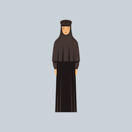 Orthodox nun, representative of religious confession vector Illustration