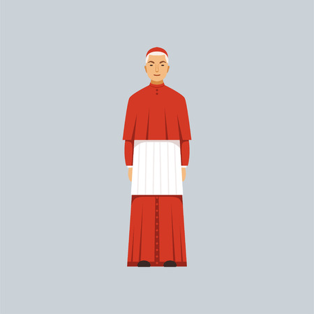 Catholic Cardinal in red robe, representative of religious confession vector Illustration  イラスト・ベクター素材