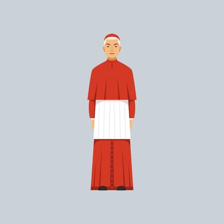 Catholic Cardinal in red robe, representative of religious confession vector Illustration 일러스트