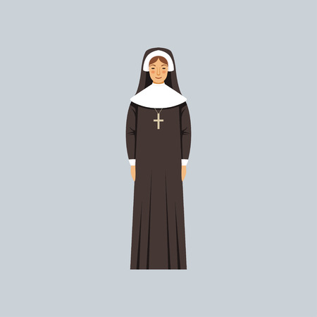 Catholic nun, representative of religious confession vector Illustration Ilustração